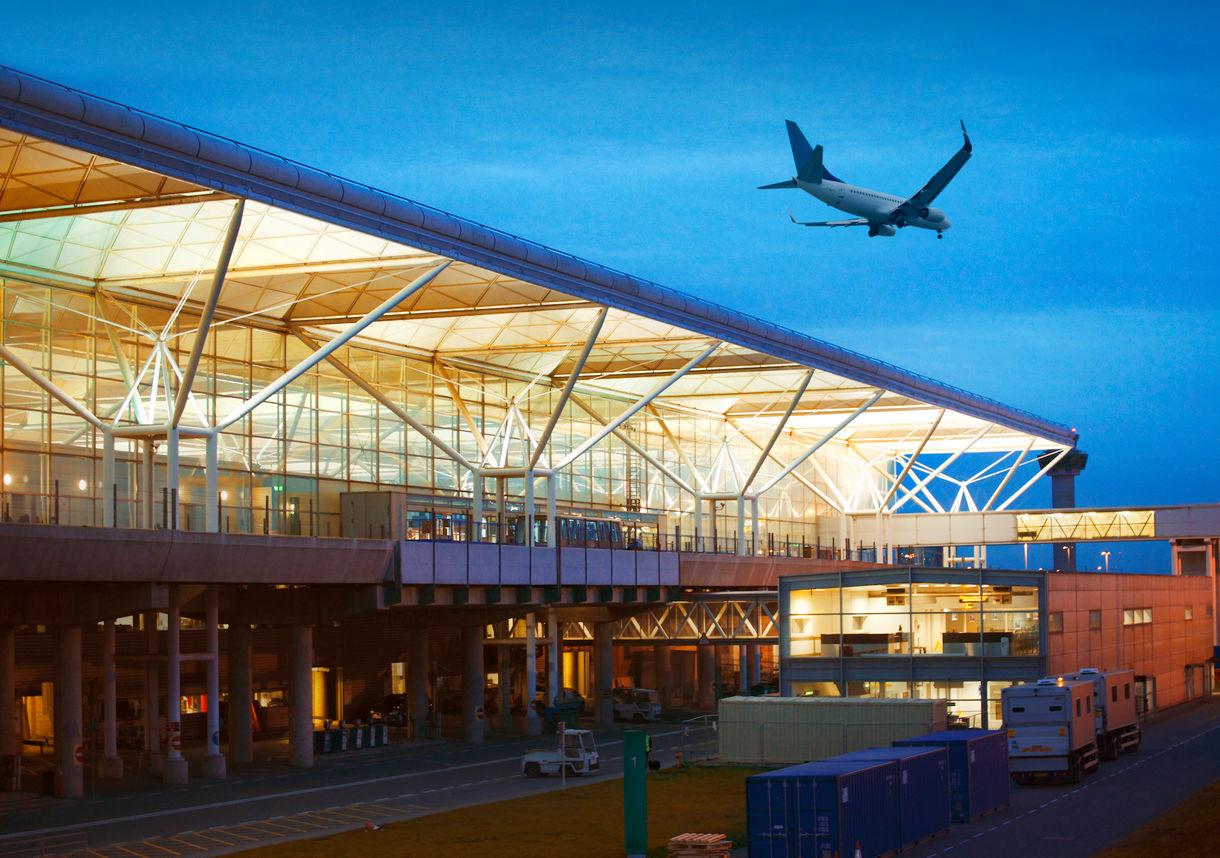 Plane over terminal